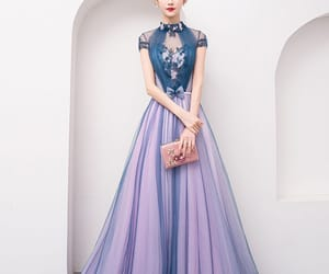 girl, navy blue dress, and evening dresses 2019 image