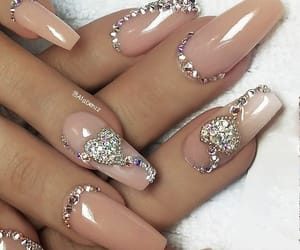 glitter, stiletto, and wedding nails image