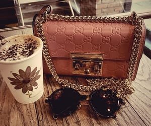 bag, sunglasses, and coffee image