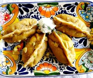 dumpling, meal, and cheater pierogi image