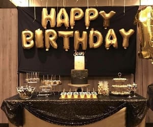 birthday, gold, and black image