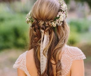bride, curly, and flower image