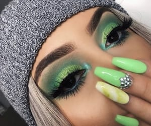 makeup, green, and beauty image