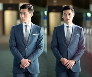 dimples, handsome, and man in suit image