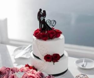 cake, topper, and wedding image