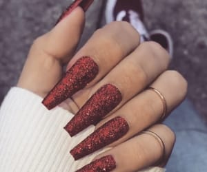 red, red nails, and glitter nails image