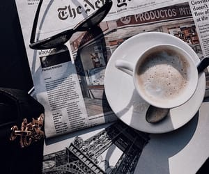 cafe, coffee, and newspaper image