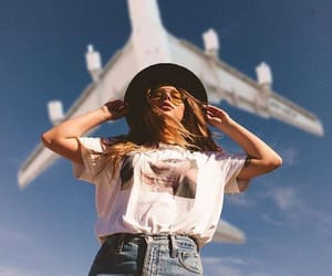 girl, adventure, and airplane image