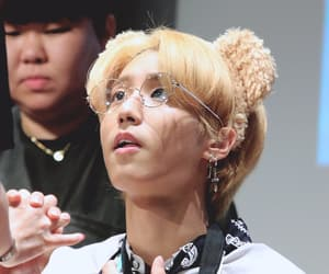 blonde hair, glasses, and skz image