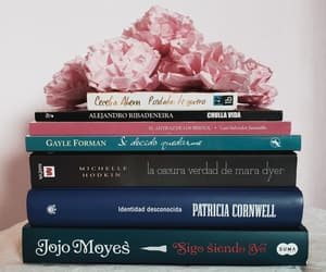 books, flowers, and peonies image