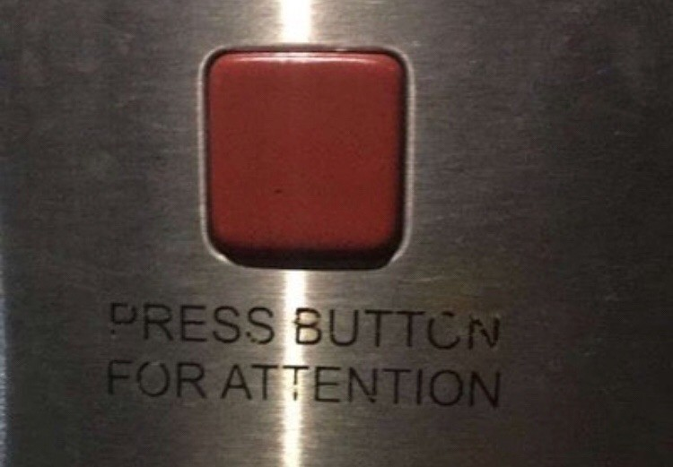 attention, button, and quotes image