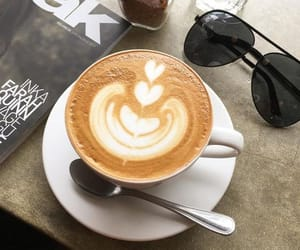 brown, sunglasses, and coffee image
