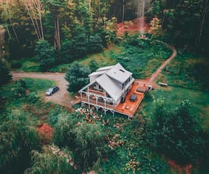aerial photography, cabin, and goals image
