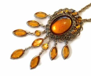 amber, statement necklace, and etsy image
