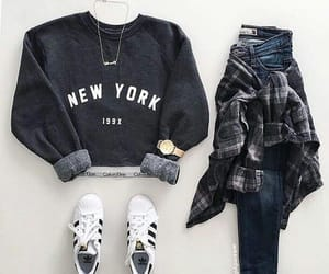 adidas, jeans, and watch image