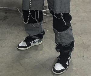 black, nike, and ripped jeans image