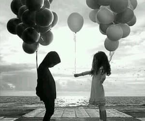 baby, balloon, and black&white image