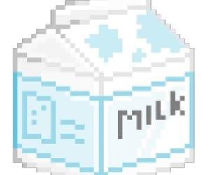 milk, kawaii, and pixel image