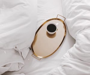 bed, black coffee, and coffee image