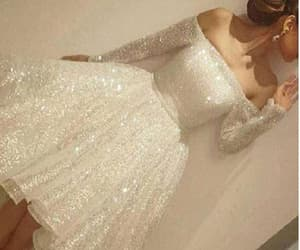 white prom dress, prom dress with sleeves, and 2018 prom dress image