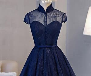 a-line homecoming dress, navy prom dresses, and prom dresses lace image