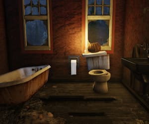bathroom, pumpkin, and toilet image