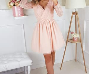 homecoming dresses, pink party dress, and v neck party dress image