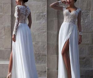 v-neck wedding dresses, lace prom dresses, and lace white prom dresses image