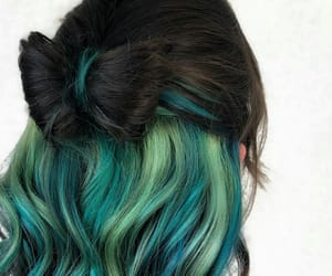 green, green hair, and teal image