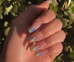 nails, holographic, and acrylics image