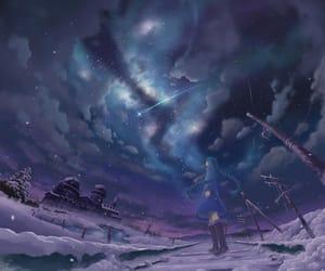 anime, night, and snow image