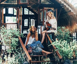 bohemian, girls, and flowers image