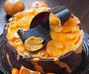 cake, chocolate, and tangerine image