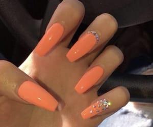 acrylic, orange, and acrylic nails image