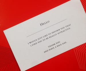 business card, red, and words image