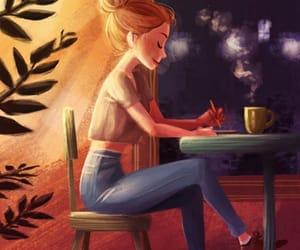 girl, coffee, and art image