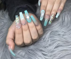 nails, rhinestones, and turquoise image