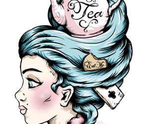 alice in wonderland, tattoo, and blue hair image