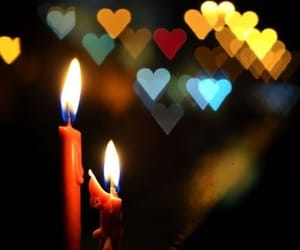 candle, love, and hearts image