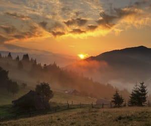 fog, landscape, and village image