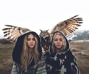 girl, animal, and owl image
