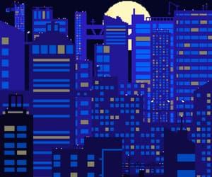 art, night, and blue image