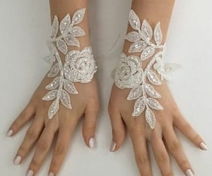etsy, fingerless glove, and ivory lace gloves image