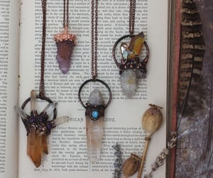 necklace, book, and witchy image