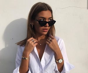 black sunglasses, girl, and gold image