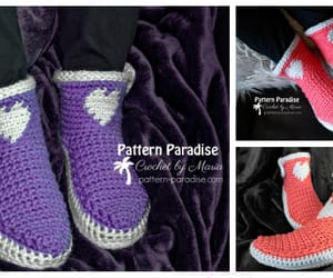 crochet, heart, and slippers image