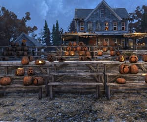 candle light, night, and pumpkin house image