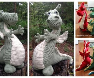 amigurumi, dragon, and toys image