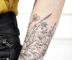 arm, black ink, and girly image