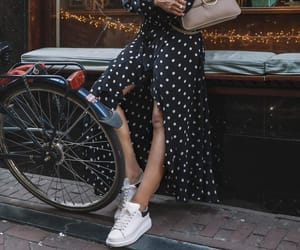 bike, polka dot, and girl image